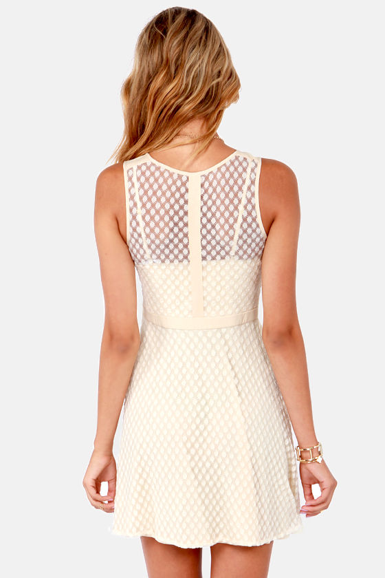 The Dot-tor Is In Beige Lace Dress at Lulus.com!