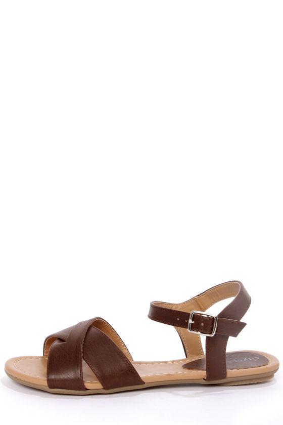 db90789d665 City Classified Colton Brown Crisscrossing Flat Sandals -  17.00