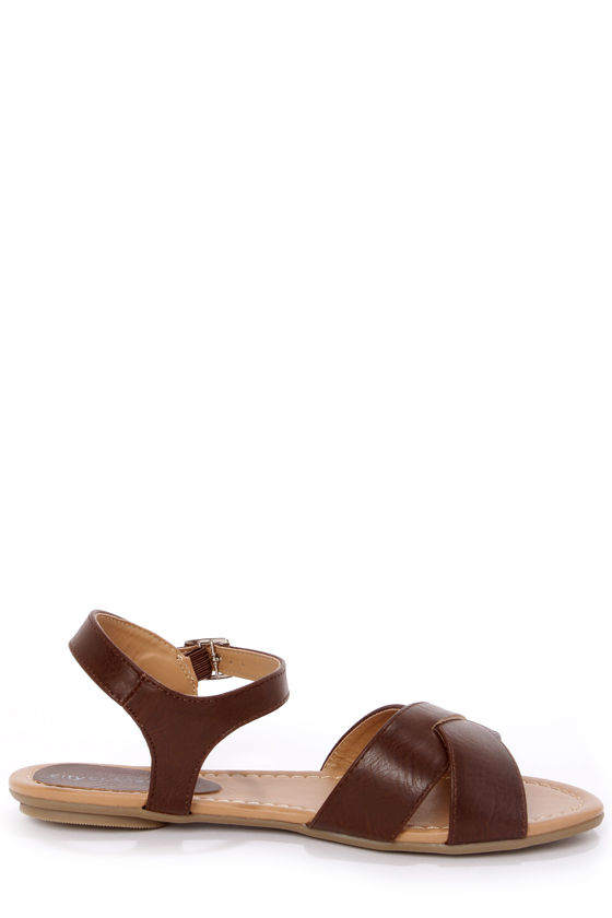 City Classified Colton Brown Crisscrossing Flat Sandals at Lulus.com!