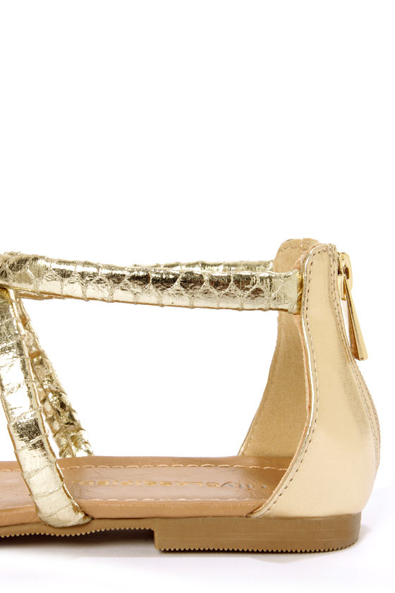 City Classified Harty Gold Snake T-Strap Thong Sandals at Lulus.com!