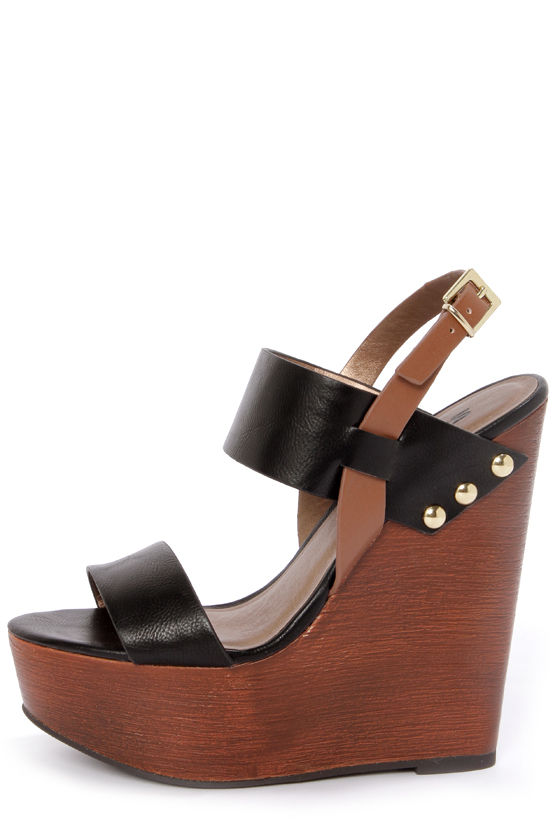 Soda Chef Black Wooden Platform Wedge Sandals - $29.00