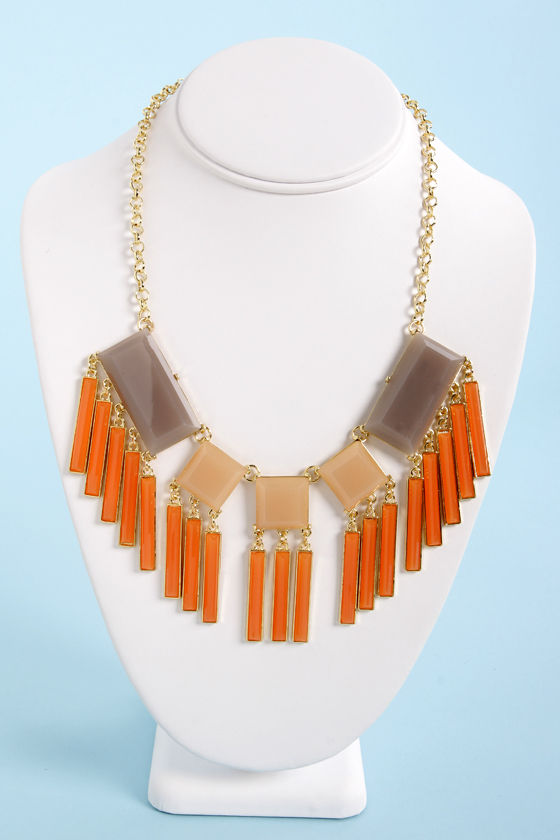Gone With the Wind Chime Orange Statement Necklace at Lulus.com!
