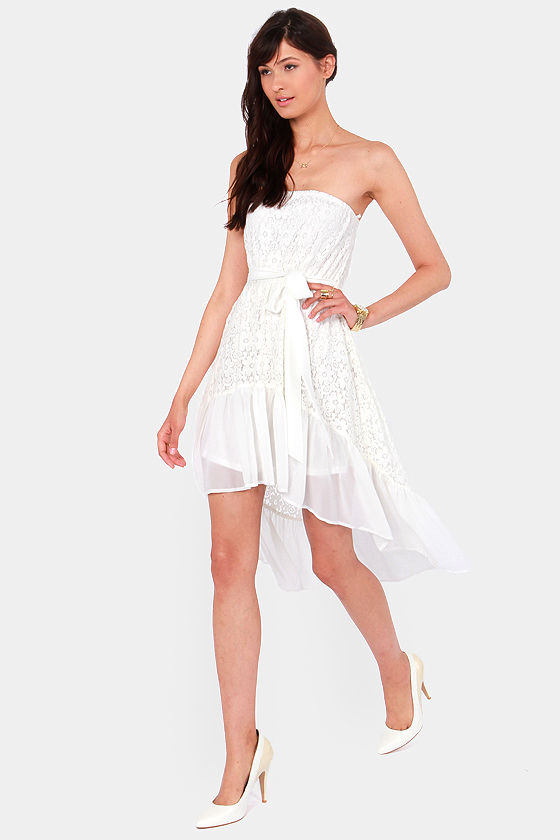 Angel Falls Strapless Ivory Lace Dress at Lulus.com!