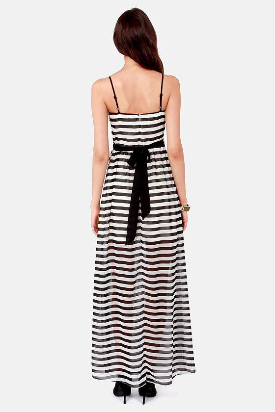 Well-Rehearsed Black and Ivory Striped Maxi Dress at Lulus.com!