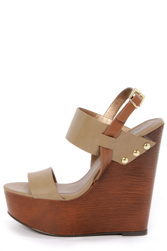 06fd3fc4ce0 Soda Chef Stone Taupe Wooden Platform Wedge Sandals -  29.00