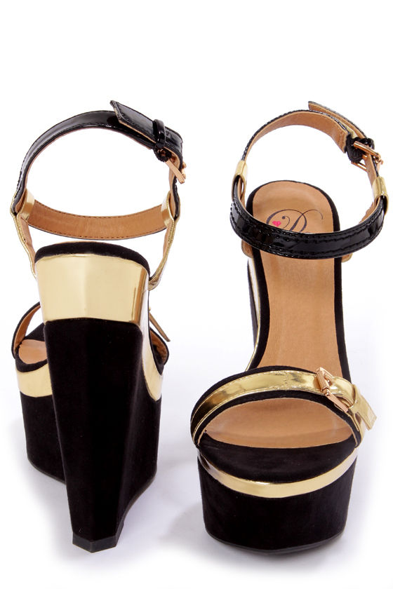 My Delicious Anshu Black and Gold Buckled Platform Wedges at Lulus.com!