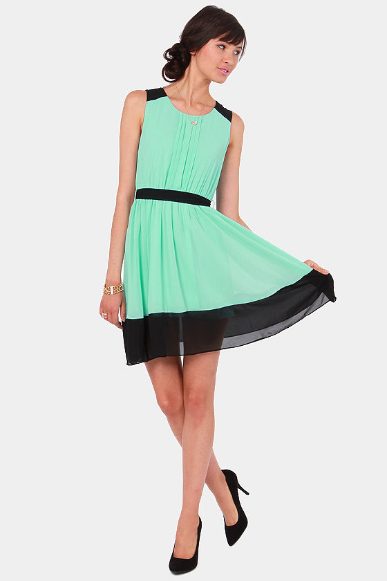 Pintucks Everlasting Black and Mint Blue Dress at Lulus.com!