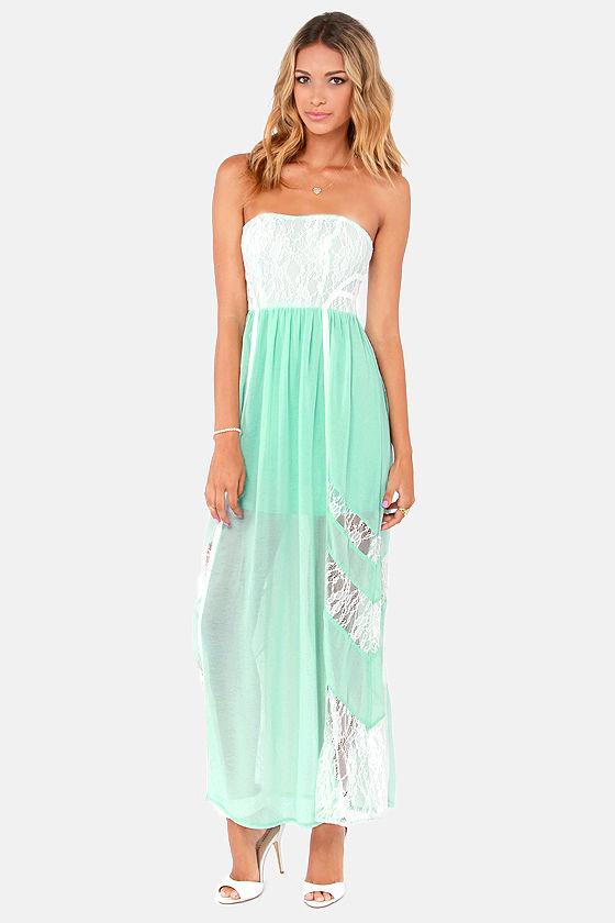 Mint lace maxi dress