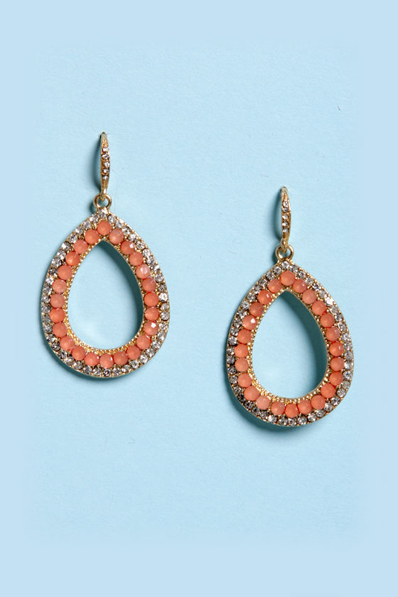 Shine and Dine Peach Rhinestone Earrings at Lulus.com!