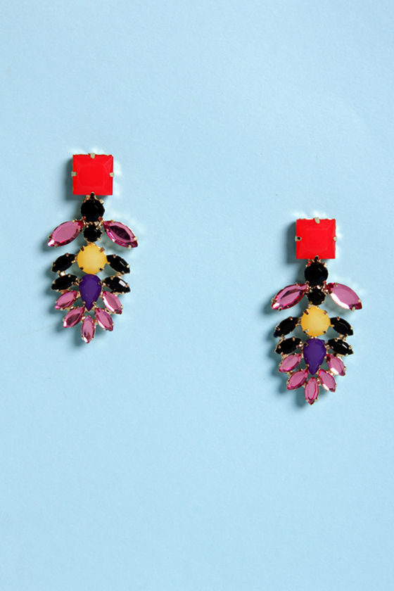 Downtown Jewel-ie Brown Red and Pink Rhinestone Earrings at Lulus.com!