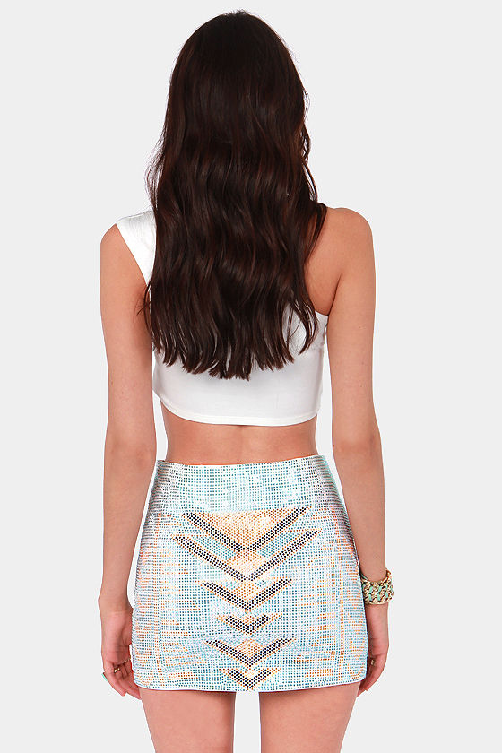 Weekend in Vegas Studded Ivory Mini Skirt at Lulus.com!