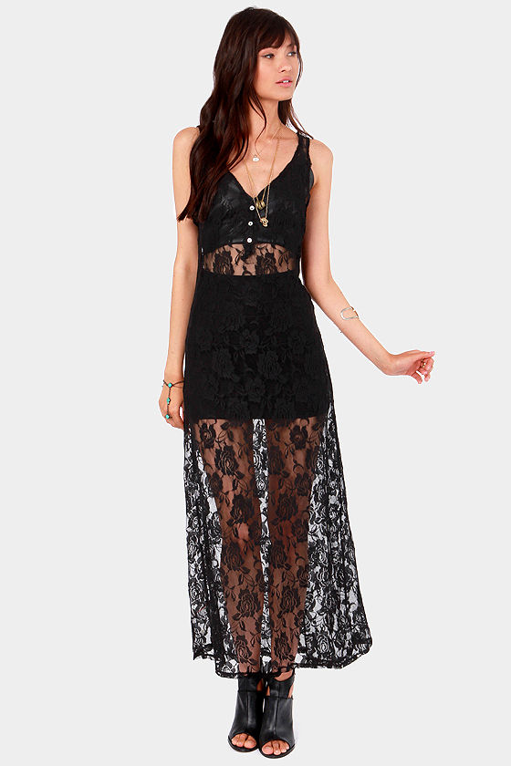 Gypsy Junkies Venice Sheer Black Lace Maxi Dress at Lulus.com!