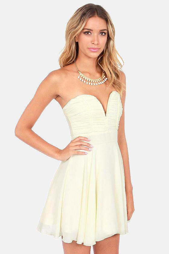 TFNC Nelle Dress - Strapless Dress - Cream Dress - $103.00
