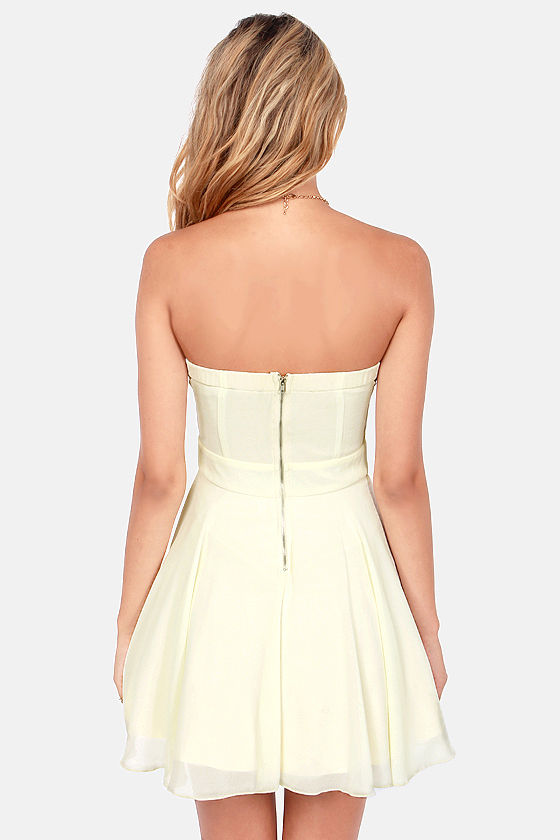 TFNC Nelle Strapless Cream Dress at Lulus.com!