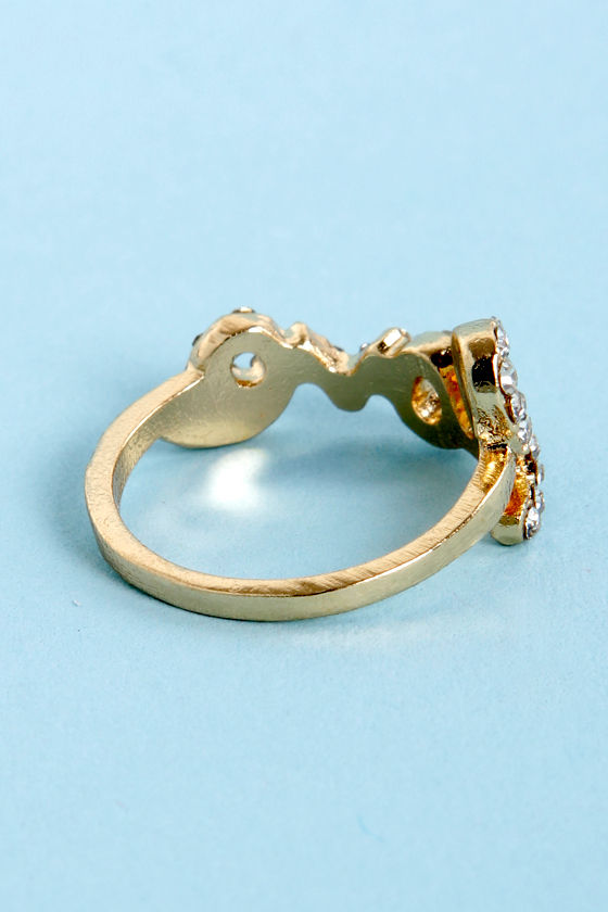 I Think I Love You Gold Rhinestone Knuckle Ring at Lulus.com!