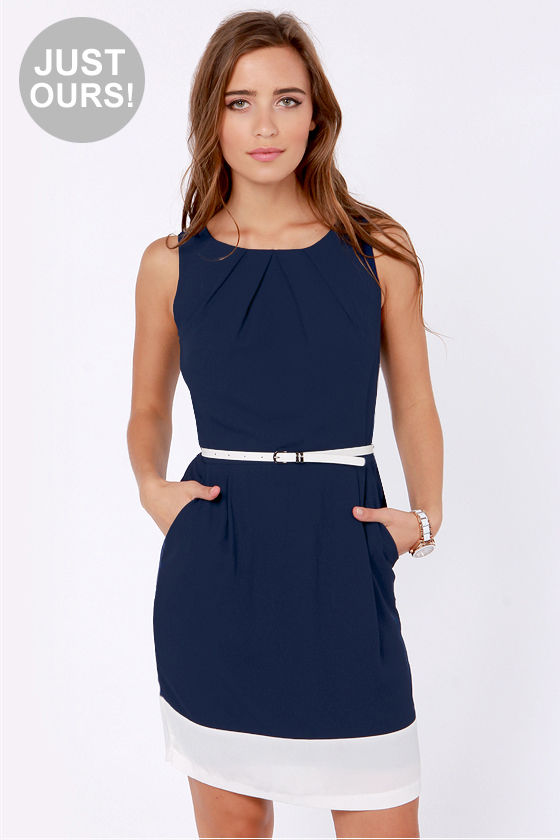 LULUS Exclusive The Good Life White and Navy Blue Dress at Lulus.com!