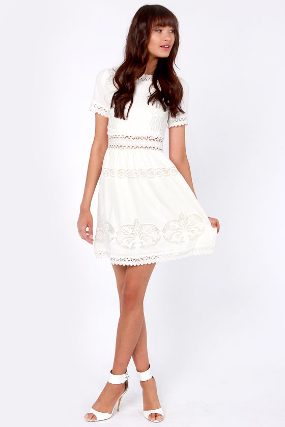 Mezzanine Maiden Ivory Lace Dress at Lulus.com!