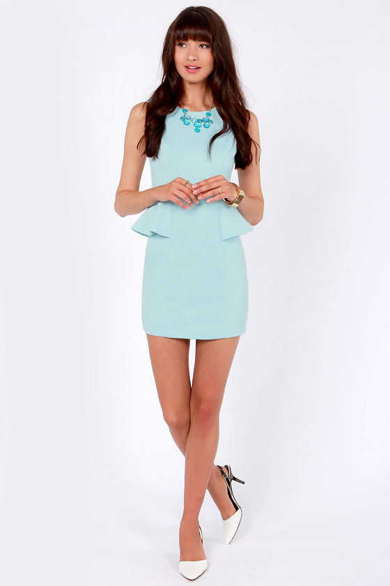 Kate's Day Out Light Blue Peplum Dress at Lulus.com!