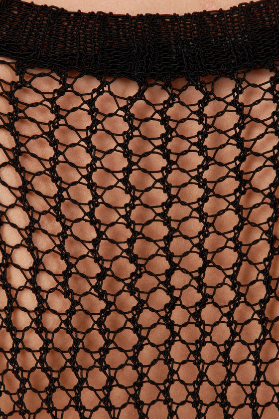 Catch of the Day Black Mesh Top at Lulus.com!