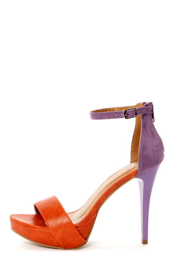 Shoe Republic LA Dysis Orange and Purple Single Strap High Heels at Lulus.com!