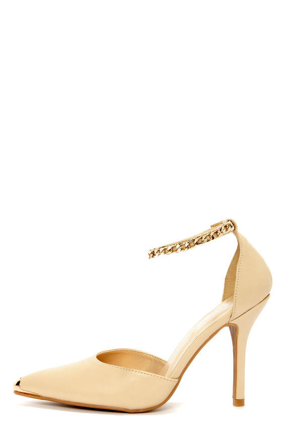 Shoe Republic LA Yurman Nude Ankle Chain Pointed Pumps at Lulus.com!