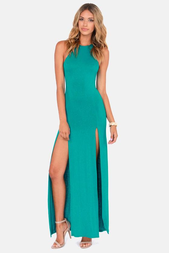 Cute Teal Dress Maxi Dress Racerback Dress 4100