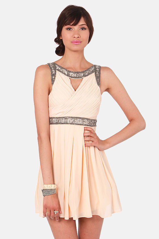 TFNC Bea Beige Beaded Dress at Lulus.com!