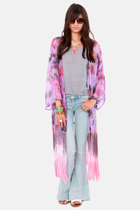 Gypsy Junkies Georgie Purple Silk Kimono Top at Lulus.com!