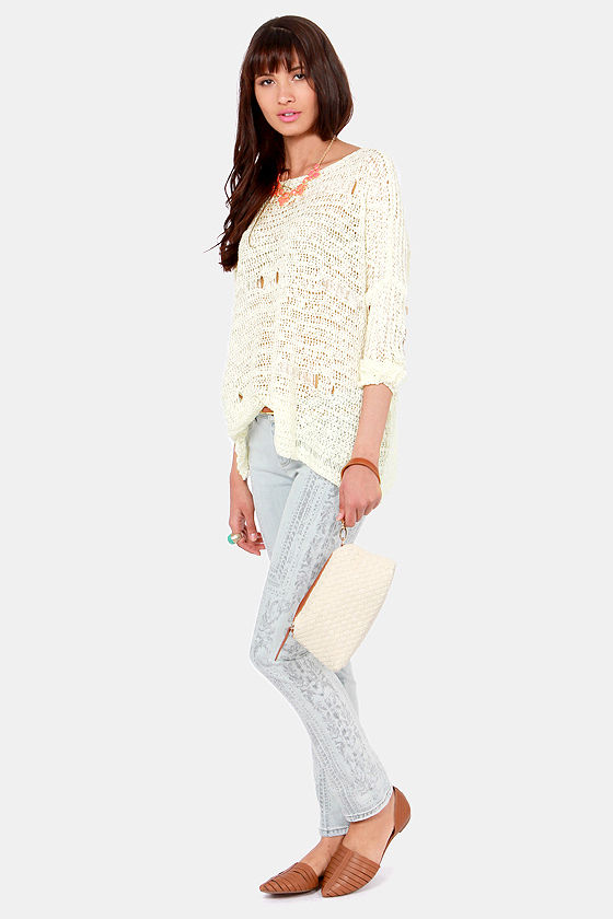 Costa Blanca Hole-y Land Cream Sweater at Lulus.com!