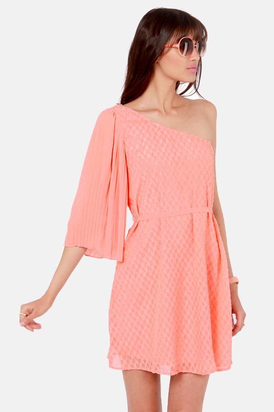 3915155e768 Pretty Peach Dress - One Shoulder Dress - Belted Dress - $46.00