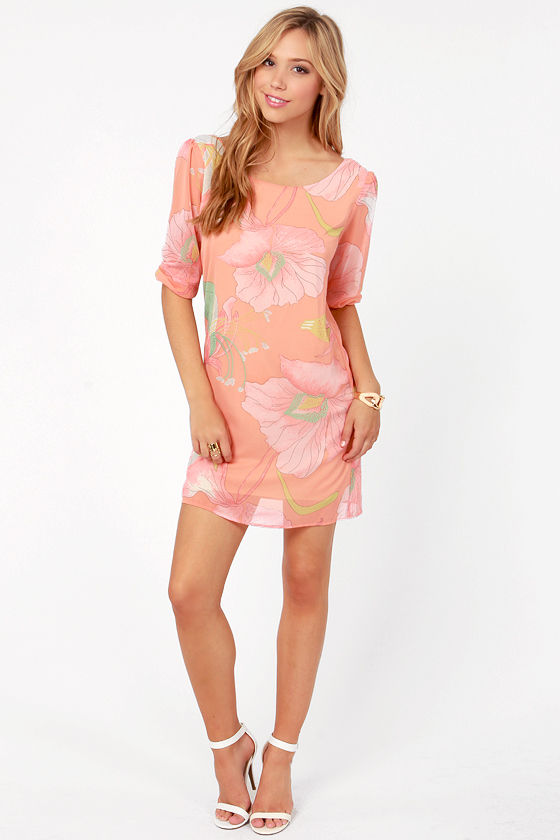 Magnolia Lane Peach Floral Print Dress at Lulus.com!