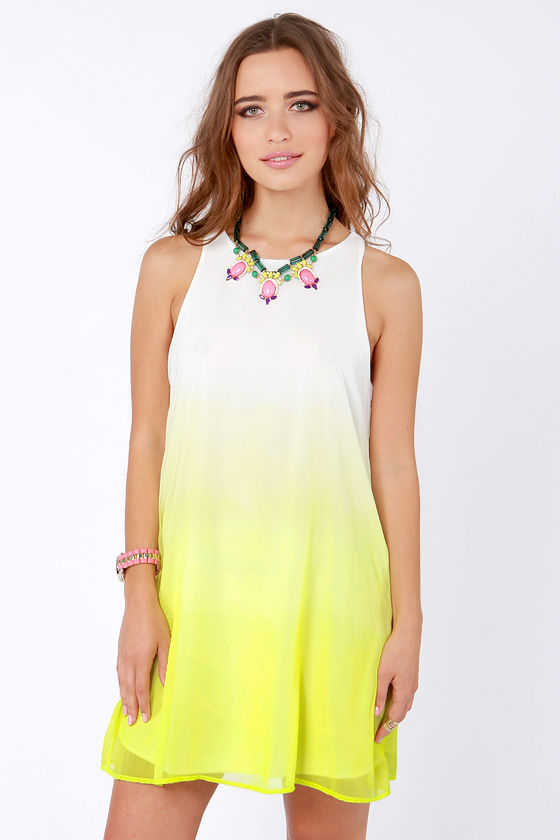 Parade in the Shades Yellow Ombre Dress at Lulus.com!