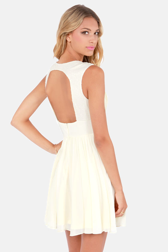 Sequin Win Situation Backless Cream Dress at Lulus.com!