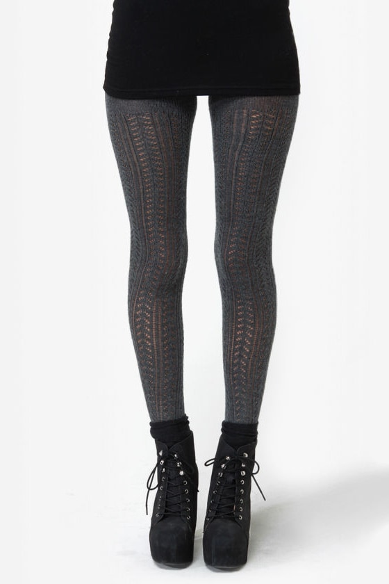 Case in Pointelle Charcoal Grey Sweater Leggings at Lulus.com!