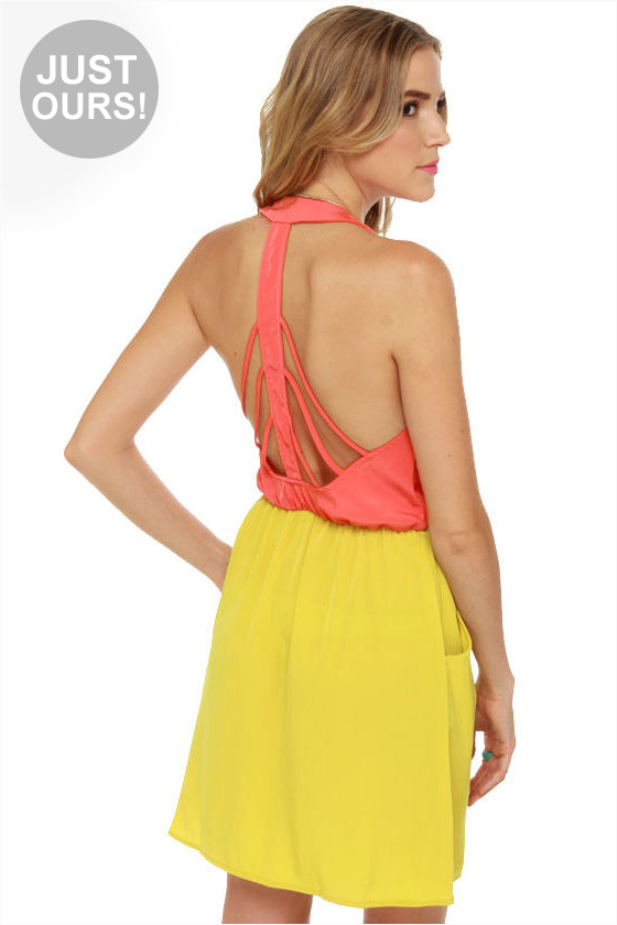 LULUS Exclusive Back Beauty Coral and Chartreuse Dress