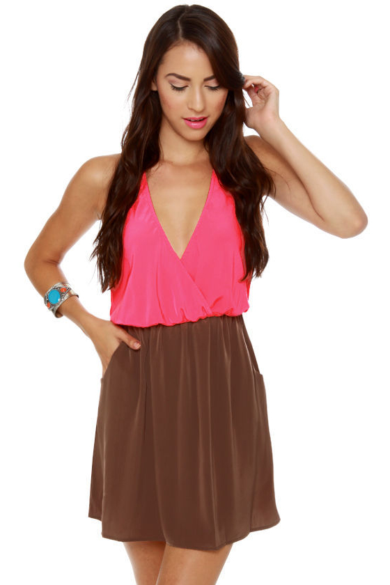 LULUS Exclusive Back Beauty Neon Pink and Brown Dress