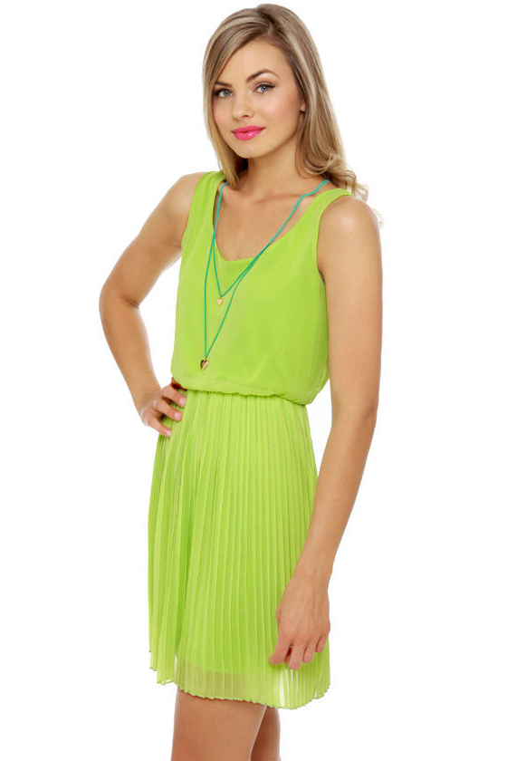 LULUS Exclusive Re-pleat After Me Lime Green Dress