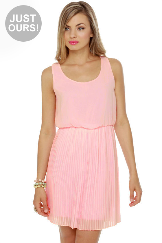 LULUS Exclusive Re-pleat After Me Pink Dress