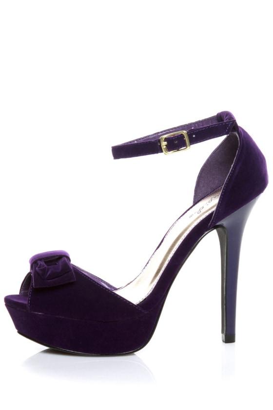 Qupid Glitter 21 Purple Velvet Platform Peep Toe Pumps