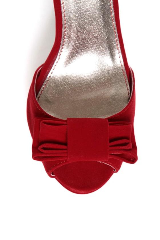 Qupid Glitter 21 Red Velvet Platform Peep Toe Pumps