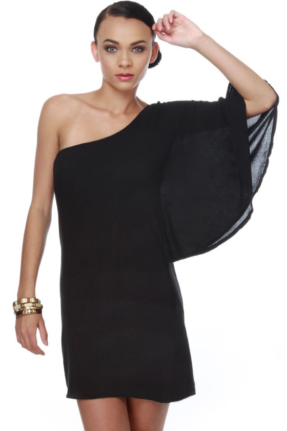 Bat Your Lashes One Shoulder Black Dress - $32.00