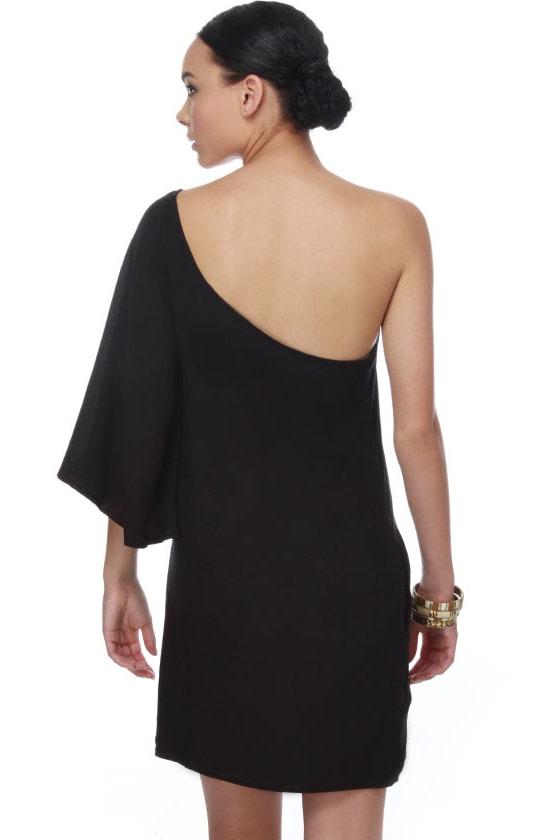 Bat Your Lashes One Shoulder Black Dress - $32.00