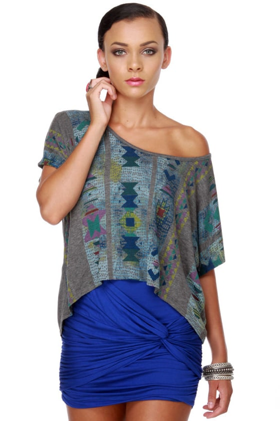 WkShp Cross Colors Grey Print Top