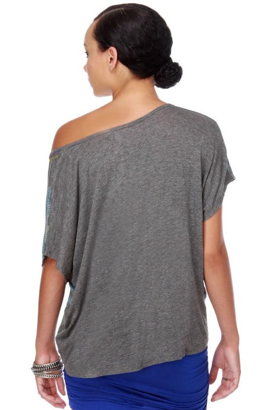 WkShp Cross Colors Grey Print Top