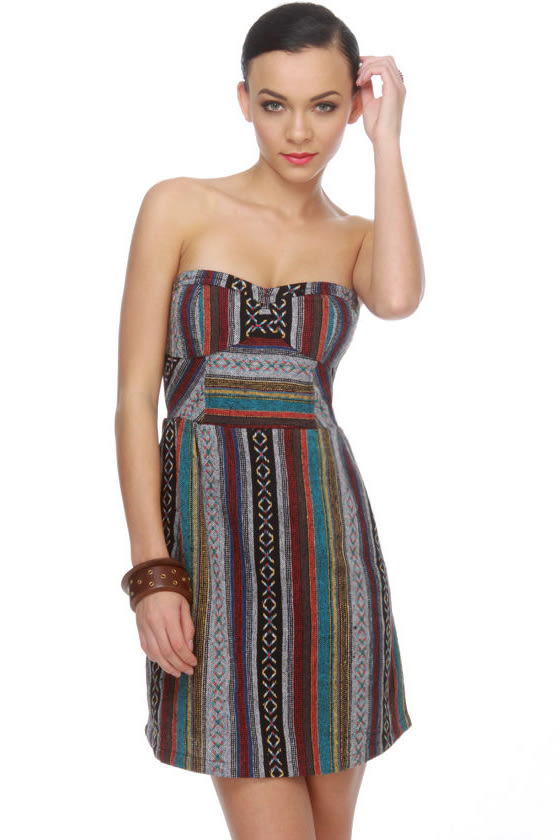 Ixchel Print Strapless Dress