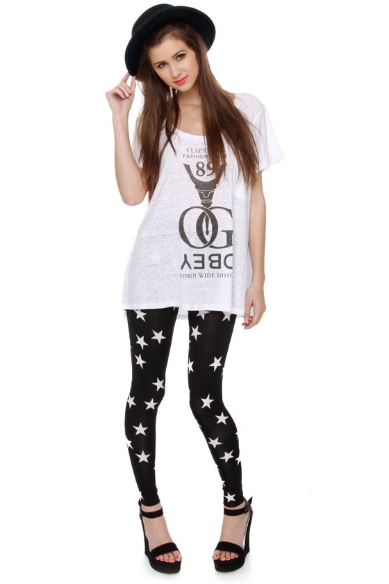 Oh My Stars Print Black Leggings