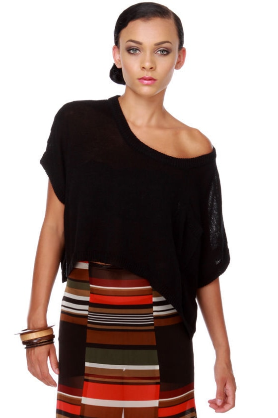 Oregon Coast Black Crop Sweater Top