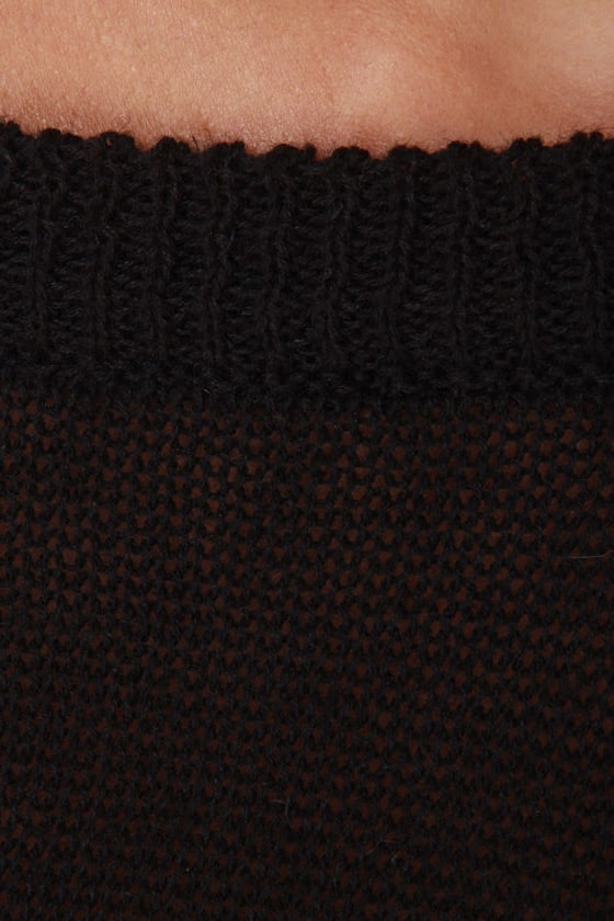 Oregon Coast Black Crop Sweater Top