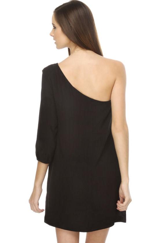 La La Love One Shoulder Black Dress