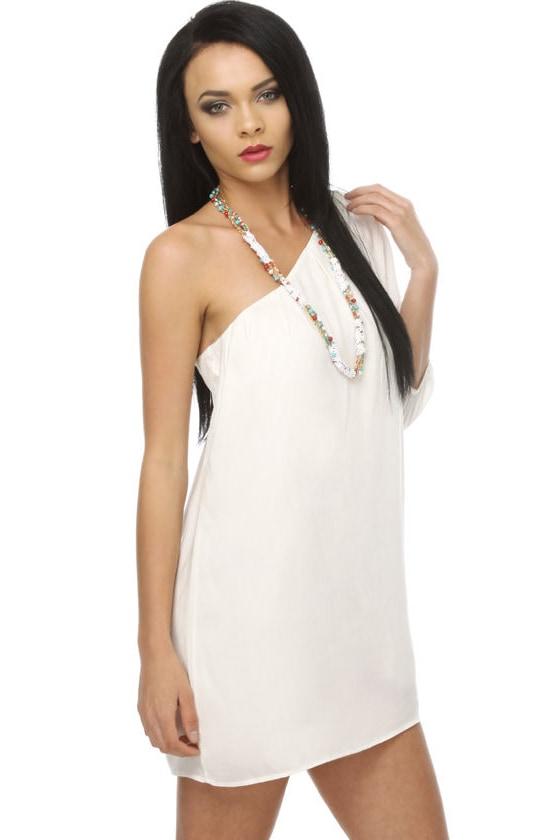 La La Love One Shoulder White Dress